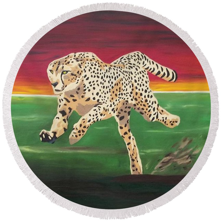 Cheetah Round Beach Towel featuring the painting Twilight Run by Amy Pugh