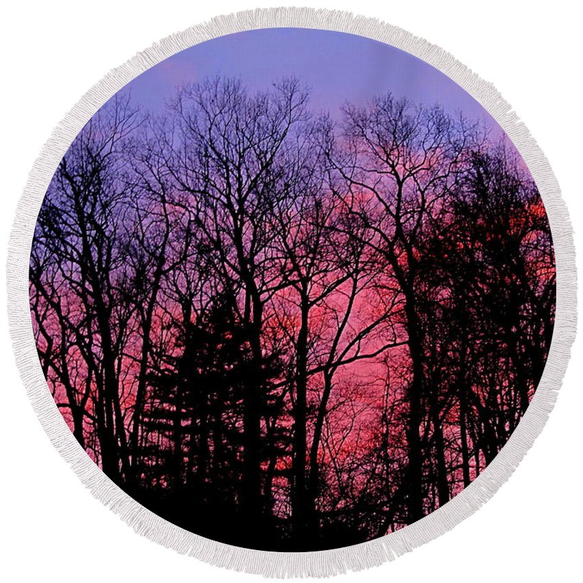 Twilight Trees Forest Sunsets Silhouette Nature Prints Natural Landscapes Skyscapes Colorful Skies Pink And Purple Clouds Round Beach Towel featuring the photograph Twilight Trees by Joshua Bales