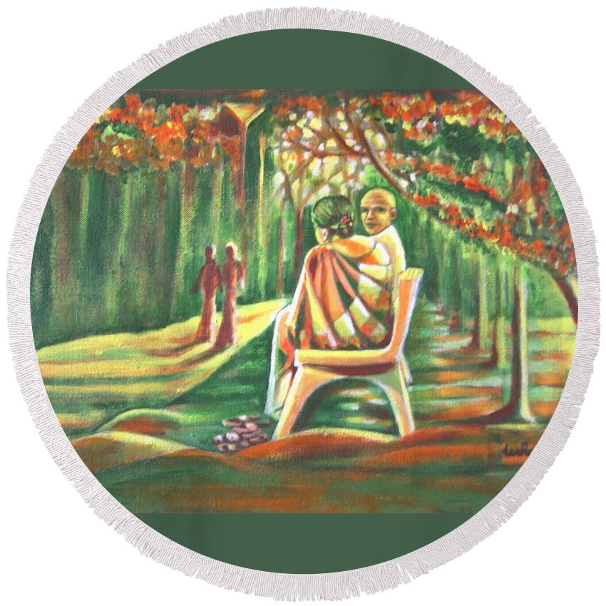 Twilight Round Beach Towel featuring the painting Twilight Years by Usha Shantharam