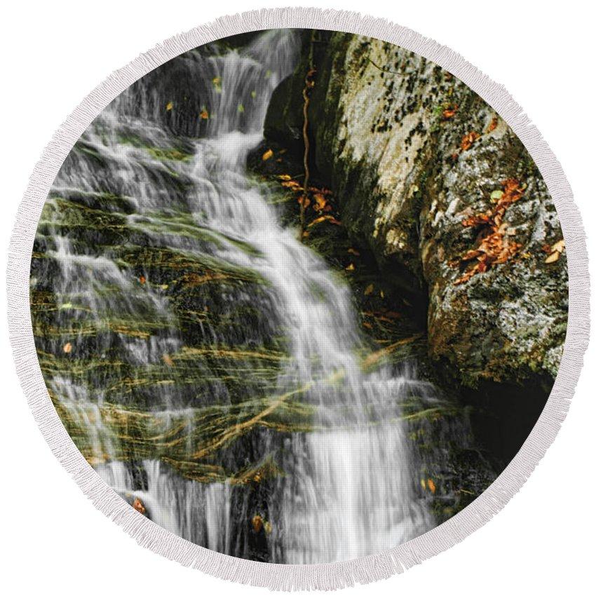 Waterfalls Water Flowing Stream Creek Photograph Photography North Carolina Nature Landscape Round Beach Towel featuring the photograph Twin Falls - Nc by Shari Jardina