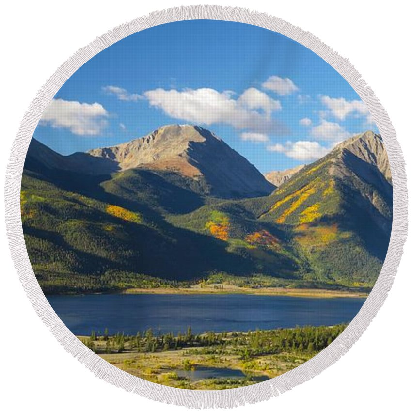 Blue Sky Round Beach Towel featuring the photograph Twin Lakes/twin Peaks Colorado Fall by Carol Milisen