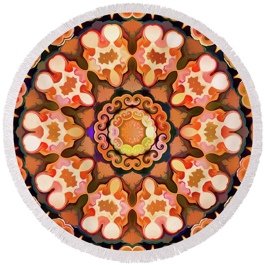 Mandala Art Round Beach Towel featuring the painting Twin by Jeelan Clark