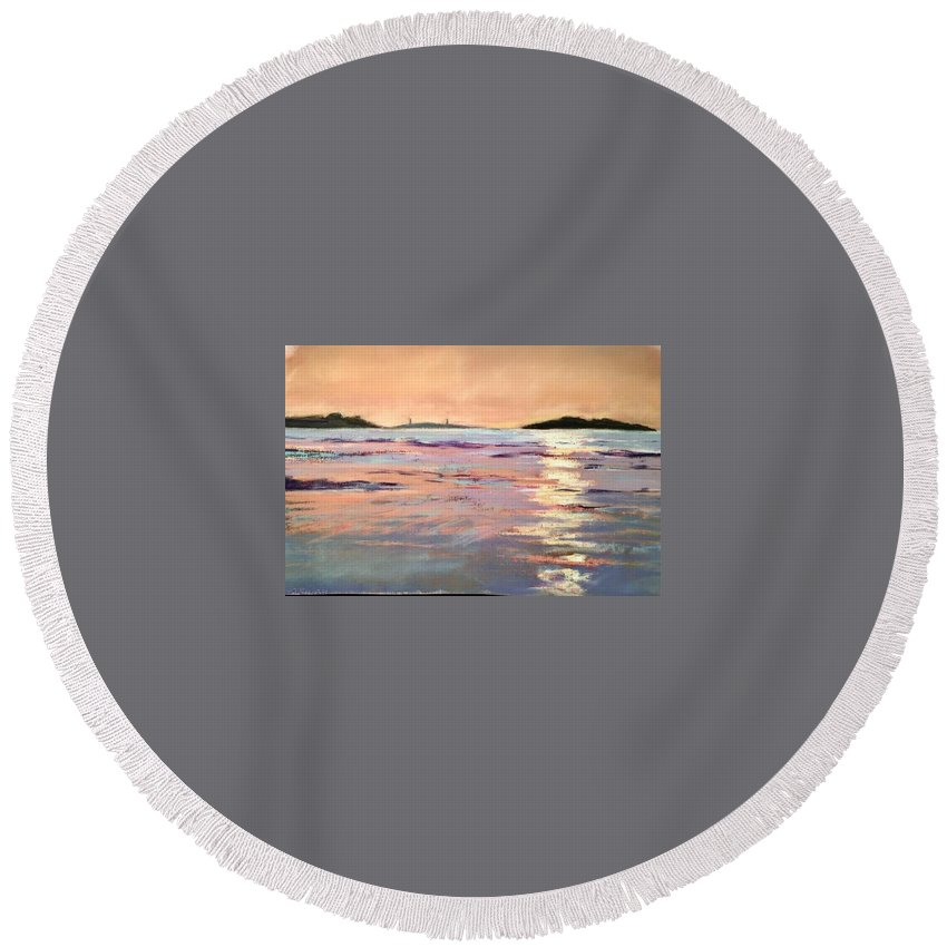 Lighthouse Round Beach Towel featuring the pastel Twin Lights by Sandi Graham