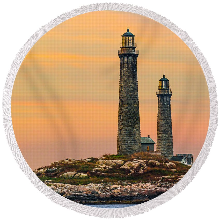 Lighthouse Round Beach Towel featuring the photograph Twin Lights With Morning Glow by Tim Kirchoff
