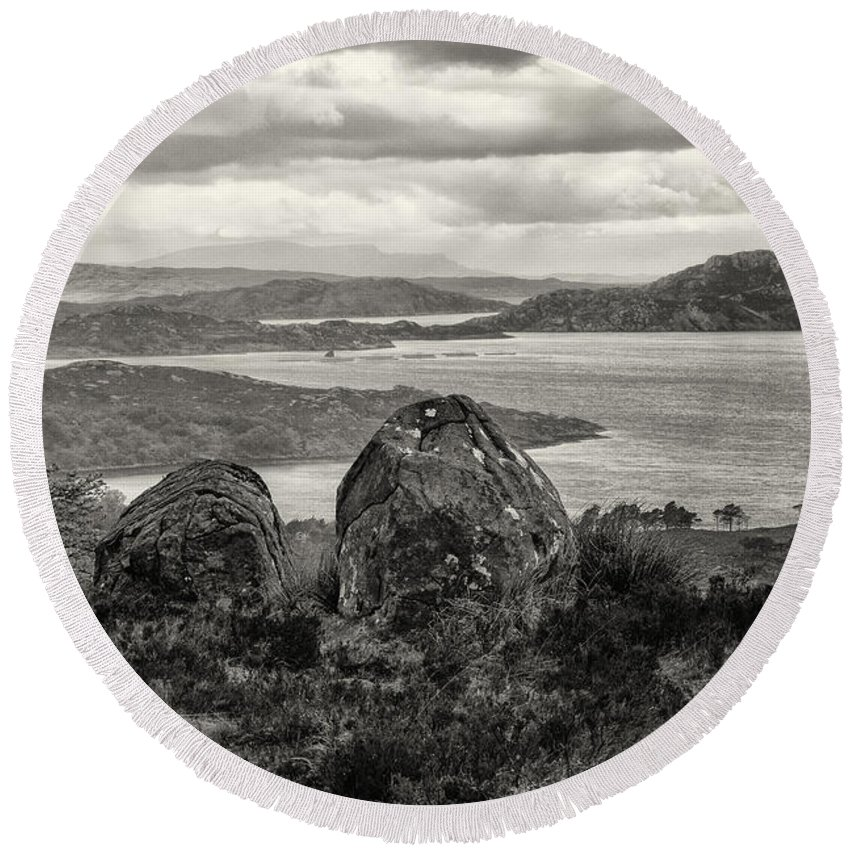 Rocks Round Beach Towel featuring the photograph Twin Rocks by Fran Gallogly