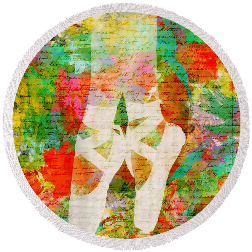 Ballet Round Beach Towel featuring the digital art Twinkle Toes by Nikki Marie Smith