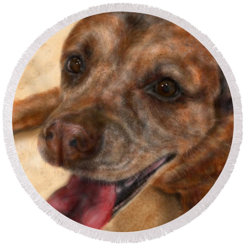 Dog Round Beach Towel featuring the painting Twinkling Eyes by Lois Ivancin Tavaf