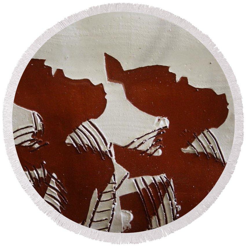 Jesus Round Beach Towel featuring the ceramic art Twins - Tile by Gloria Ssali