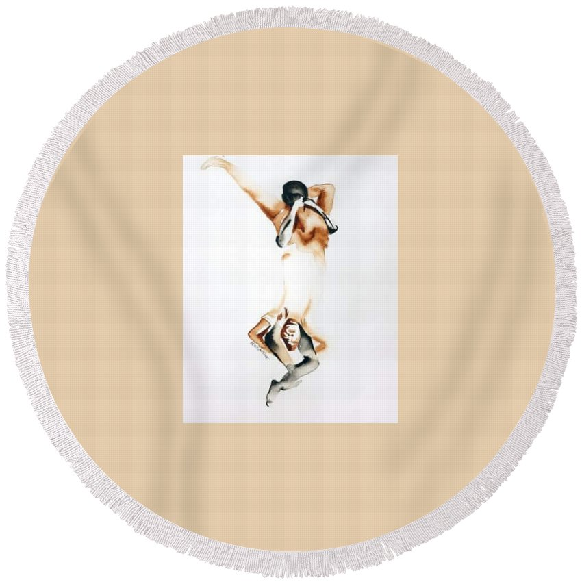 Figurative Round Beach Towel featuring the painting Twins by Murali Gatti