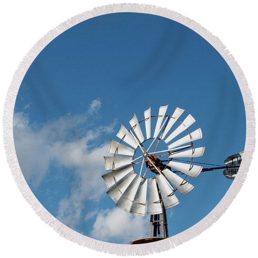Windmill Round Beach Towel featuring the photograph Twinwheel by David Arment