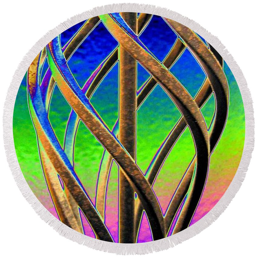 Abstract Round Beach Towel featuring the digital art Twist And Shout 2 by Will Borden