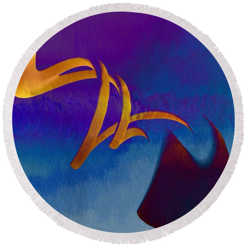 Abstract Round Beach Towel featuring the painting Twist by Mark Taylor