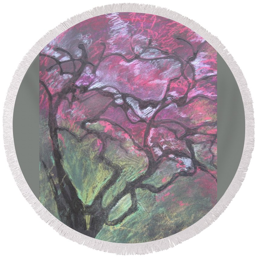 Pastel Round Beach Towel featuring the drawing Twisted Cherry by Leah Tomaino