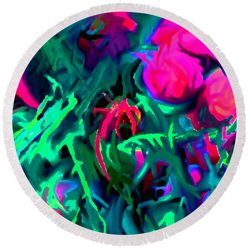 Abstract Round Beach Towel featuring the digital art Twisted by Ian MacDonald