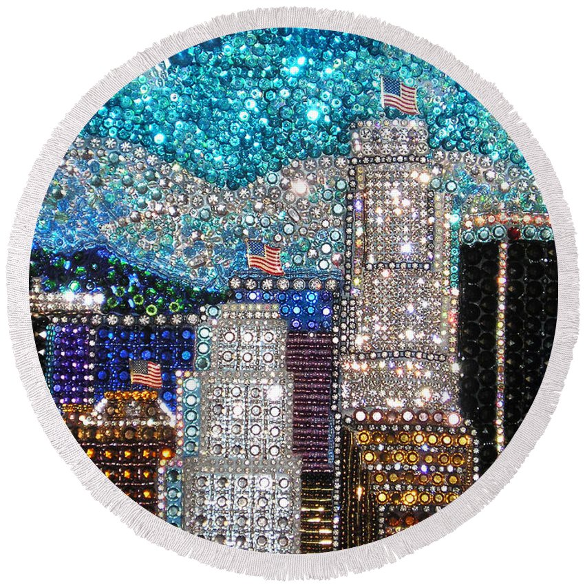 Los Angeles Round Beach Towel featuring the painting Los Angeles. Rhinestone Mosaic Beadwork Mix by Sofia Metal Queen