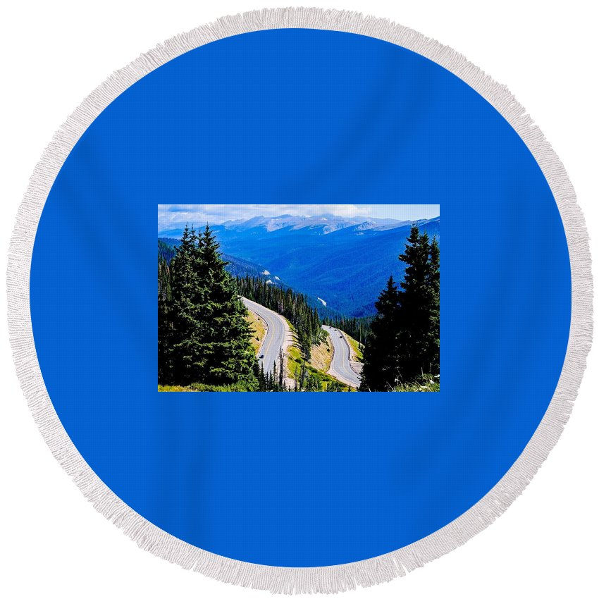 Rockies Round Beach Towel featuring the photograph Twists And Turns by Angela Sherrer