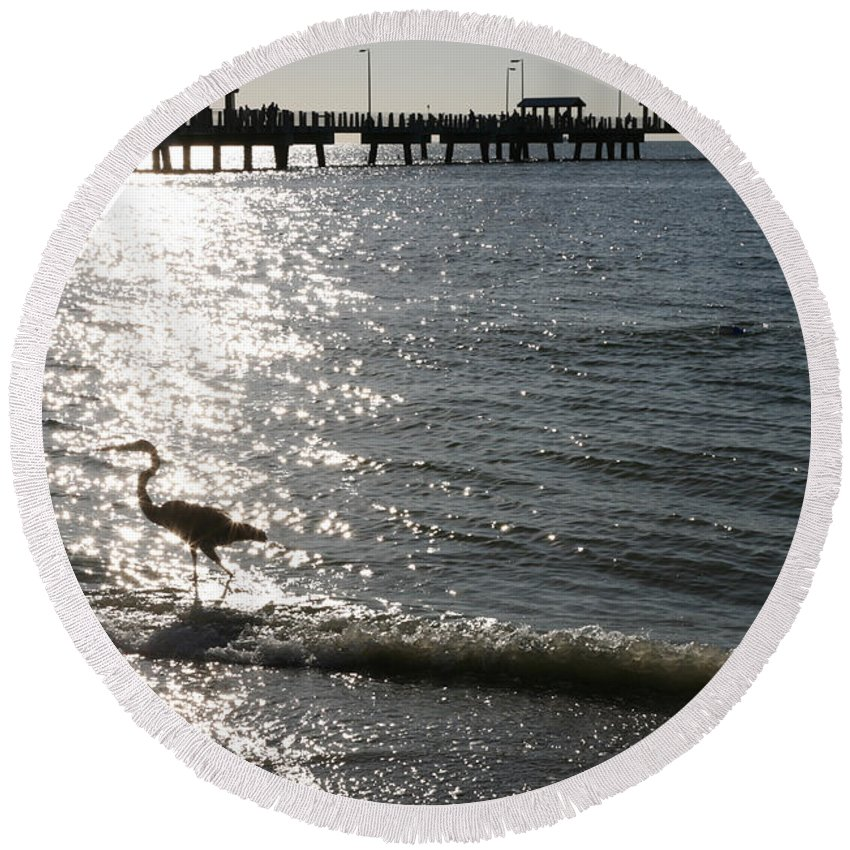 Fort De Soto Round Beach Towel featuring the photograph Two Anglers At Fort De Soto by Mal Bray