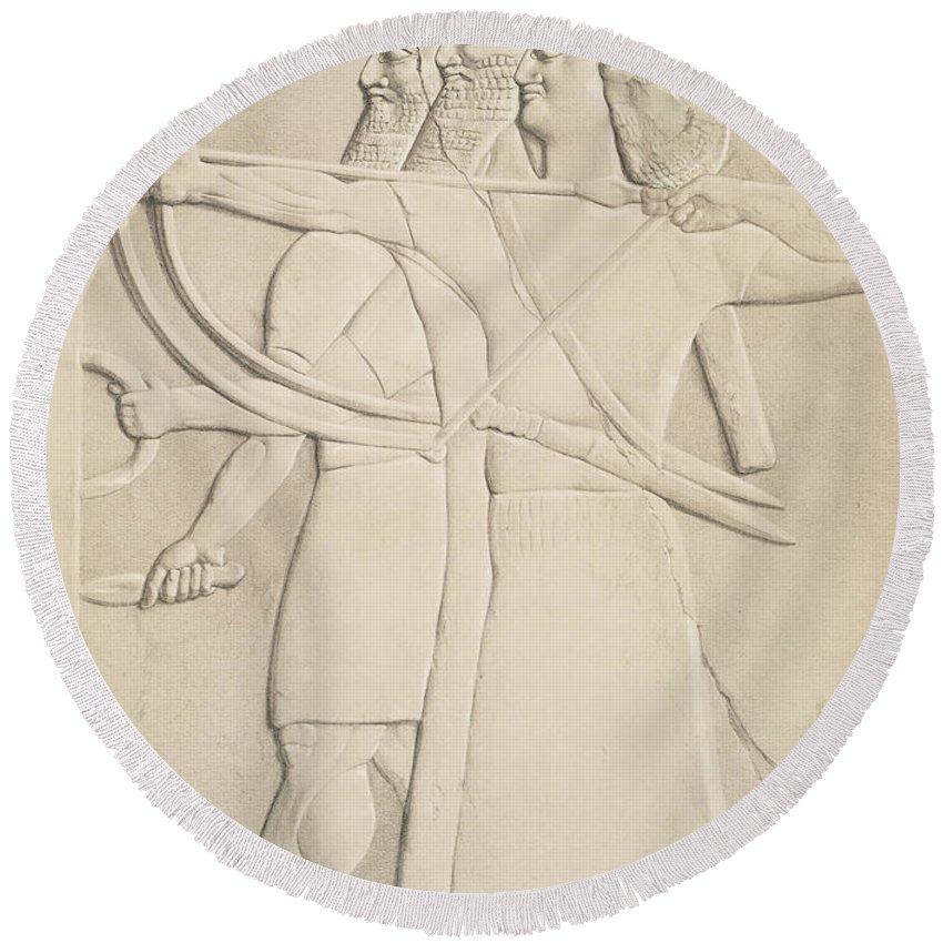 Two Archers And A Shield Bearer Round Beach Towel featuring the drawing Two Archers And A Shield Bearer, by Austen Henry Layard