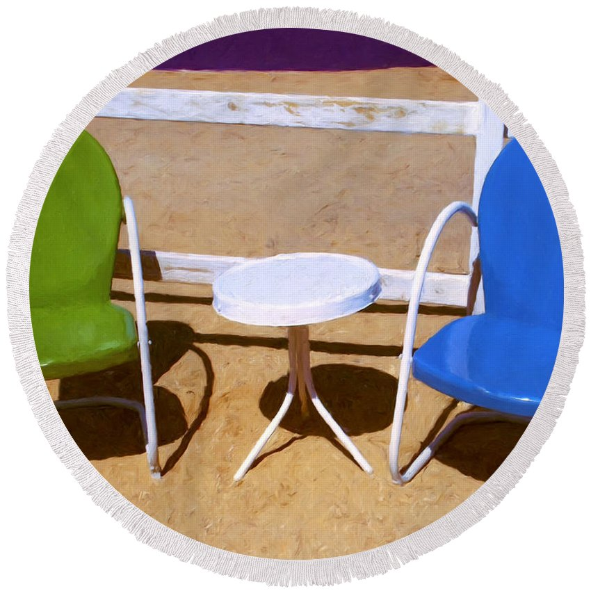 Patio Chairs Round Beach Towel featuring the painting Two Chairs by Dominic Piperata