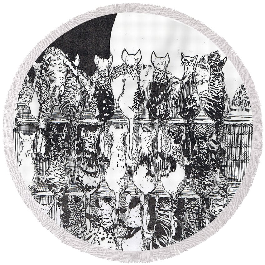 Cats Round Beach Towel featuring the drawing Two Dozen and One Cats by Seth Weaver