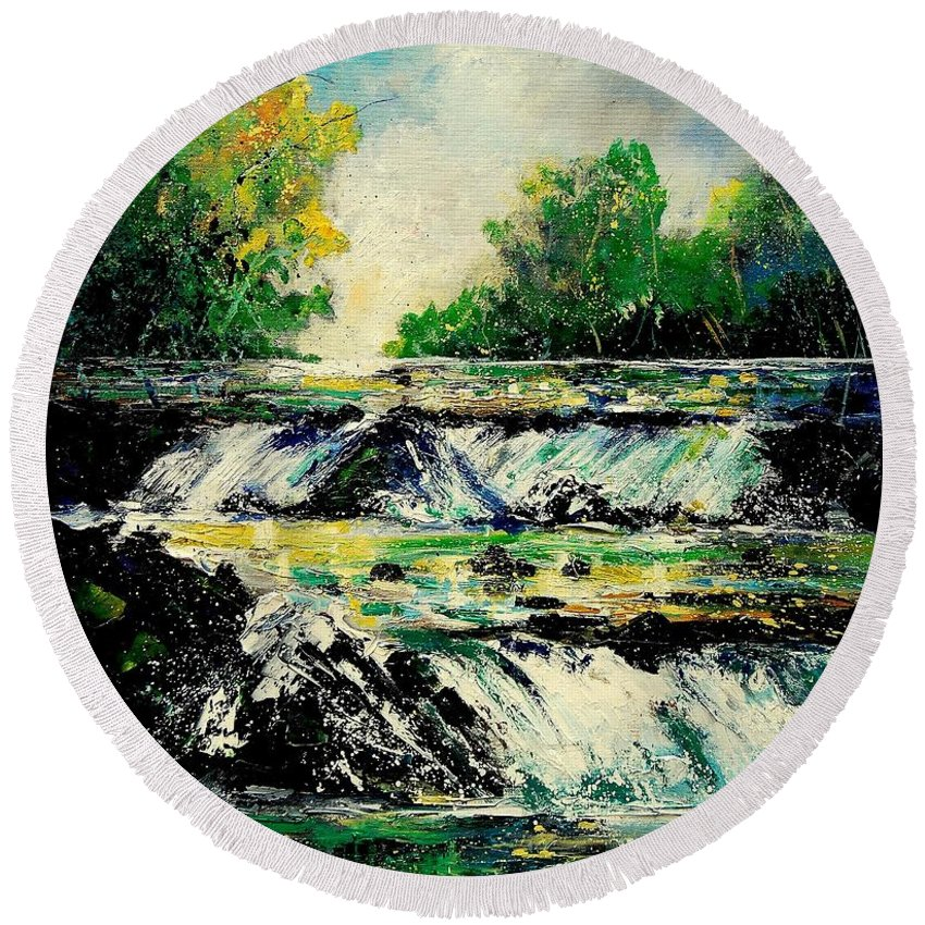 River Round Beach Towel featuring the painting Two Falls by Pol Ledent