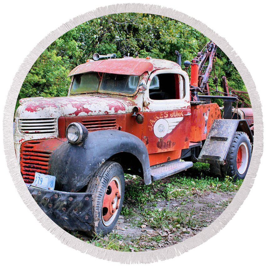 Old Truck Round Beach Towel featuring the photograph Two for One by Kristin Elmquist