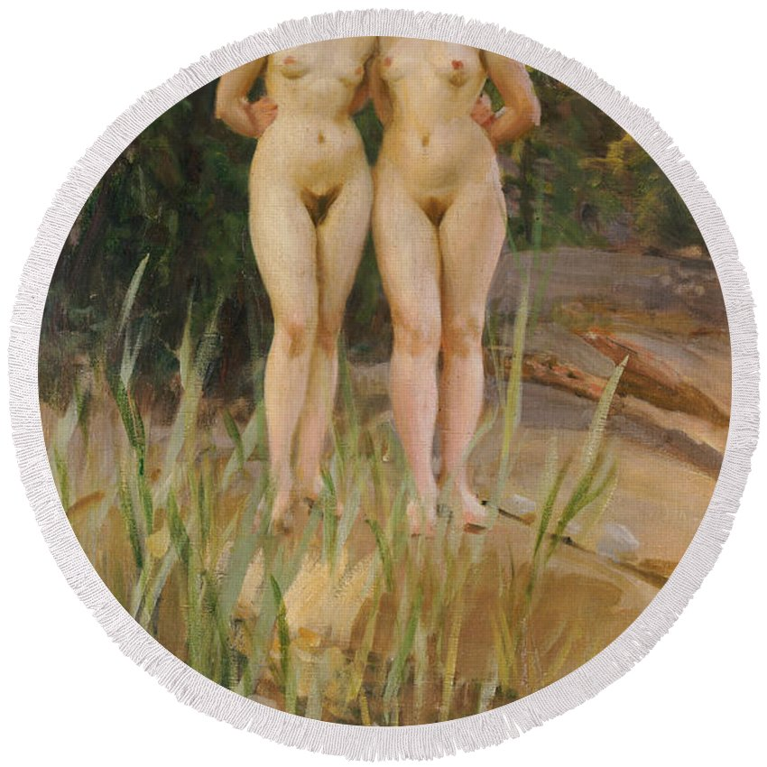 Nude Round Beach Towel featuring the painting Two Friends by Anders Leonard Zorn