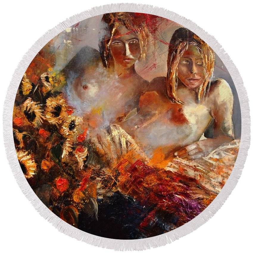 Girl Nude Round Beach Towel featuring the painting Two Friends by Pol Ledent
