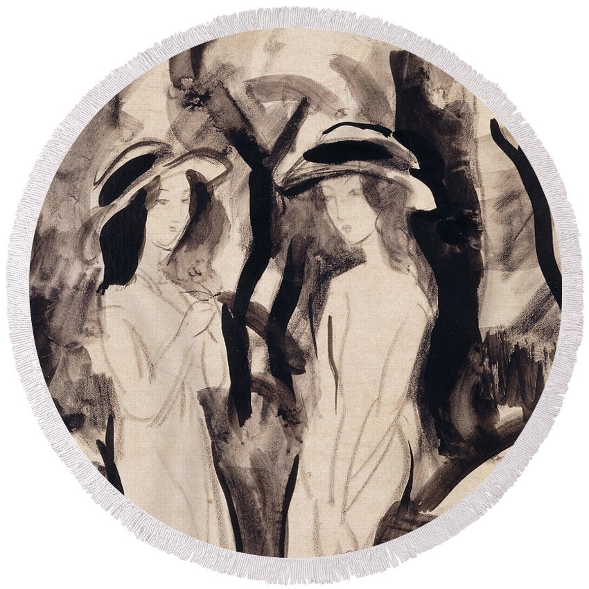 Two Girls Round Beach Towel featuring the drawing Two Girls by August Macke