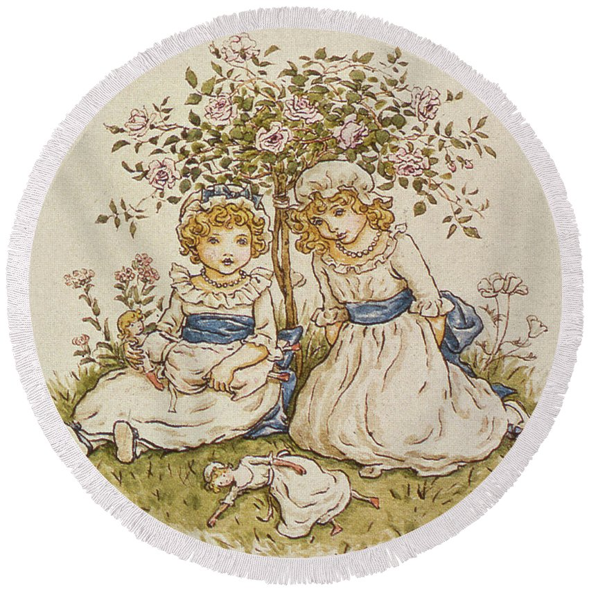Kate Greenaway Round Beach Towel featuring the drawing Two Girls With Dolls Sitting Under A Rose Bush, 19th Century by Kate Greenaway