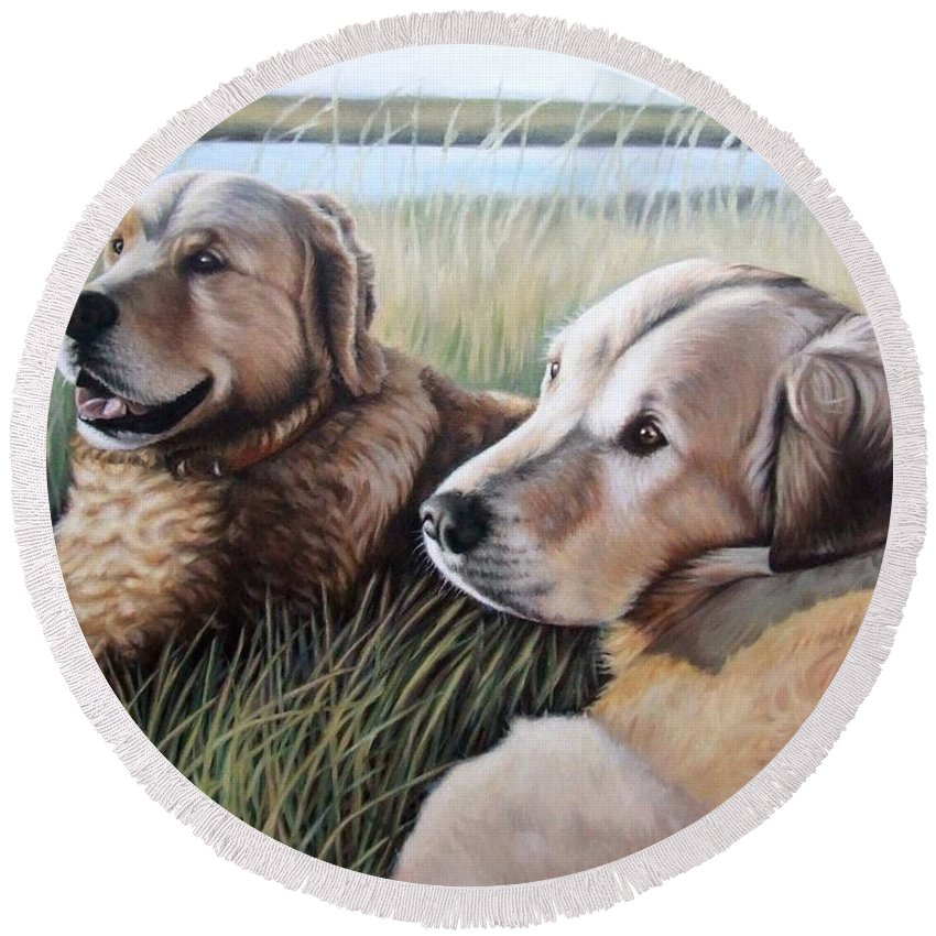 Dogs Round Beach Towel featuring the painting Two Golden Retriever by Nicole Zeug