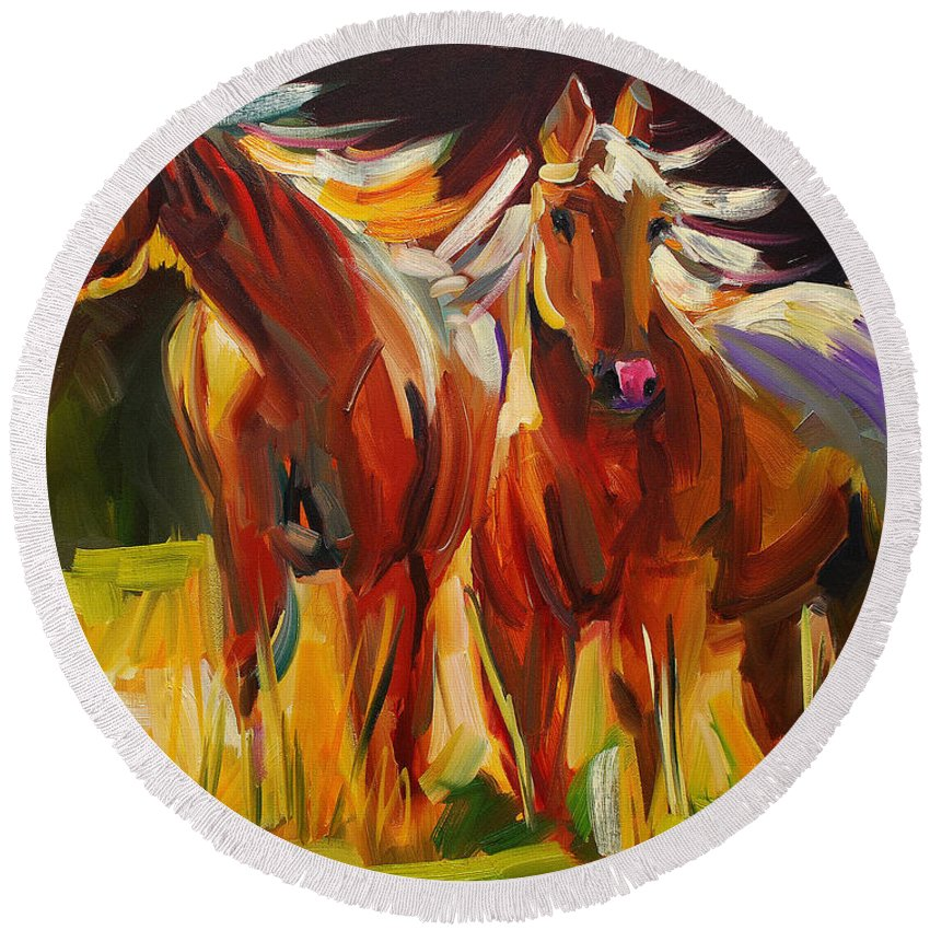 Painting Round Beach Towel featuring the painting Two Horse Town by Diane Whitehead