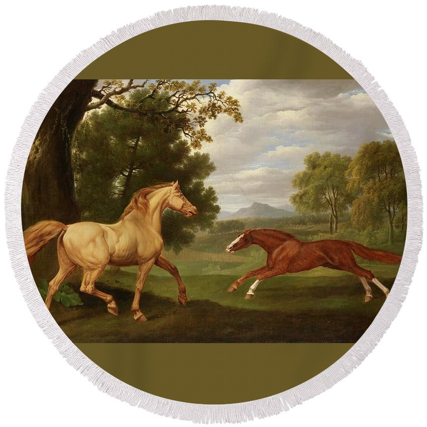 Charles Towne Round Beach Towel featuring the painting Two Horses In A Landscape by Charles Towne