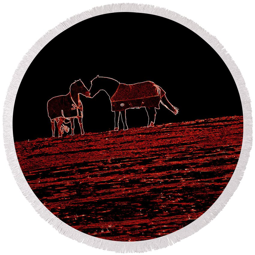 Horses Round Beach Towel featuring the photograph Two Horses by James Hill