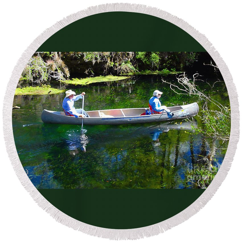 Canoe Round Beach Towel featuring the photograph Two In A Canoe by David Lee Thompson
