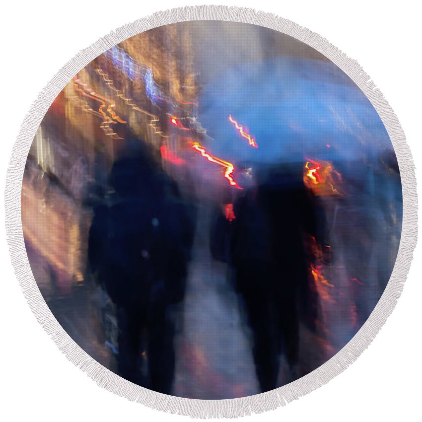 Abstract Round Beach Towel featuring the photograph Two In The Rain by Svetlana Iso