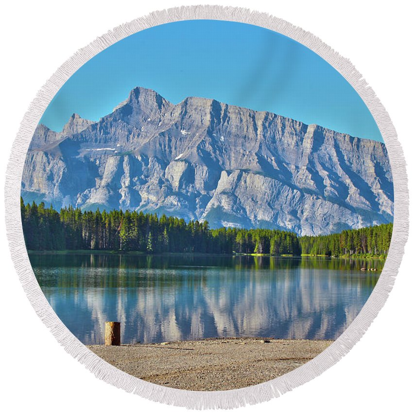 Two Jack Lake Round Beach Towel featuring the photograph Two Jack Lake by Linda Sannuti