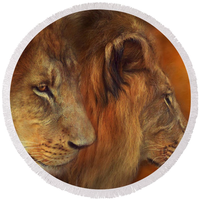 Carol Cavalaris Round Beach Towel featuring the mixed media Two Lions by Carol Cavalaris