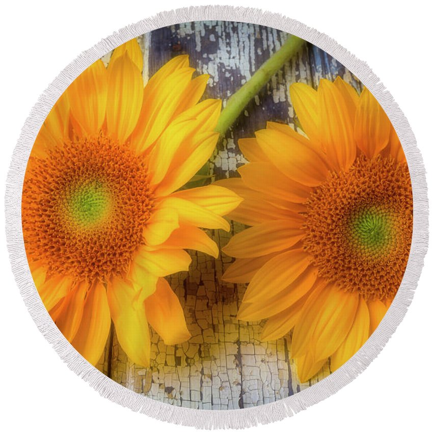 Mood Round Beach Towel featuring the photograph Two Lovely Sunflowers by Garry Gay