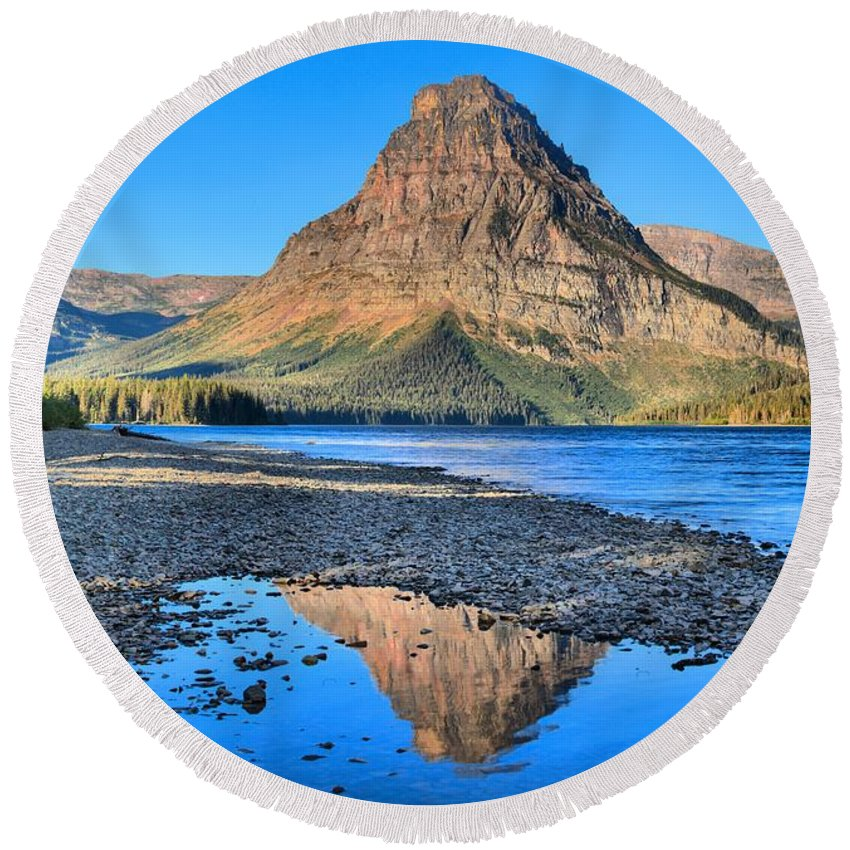 Two Medicine Lake Round Beach Towel featuring the photograph Two Medicine Reflections by Adam Jewell