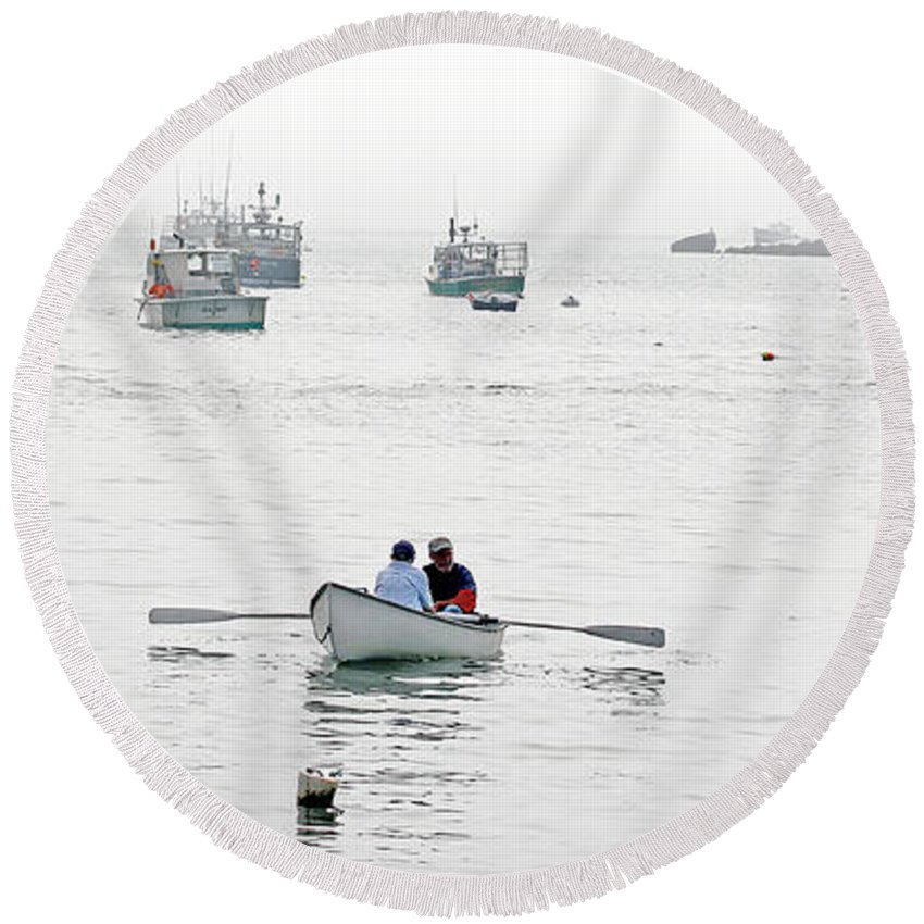 Maine Round Beach Towel featuring the photograph Two Men In A Dinghy by Laura Mace Rand