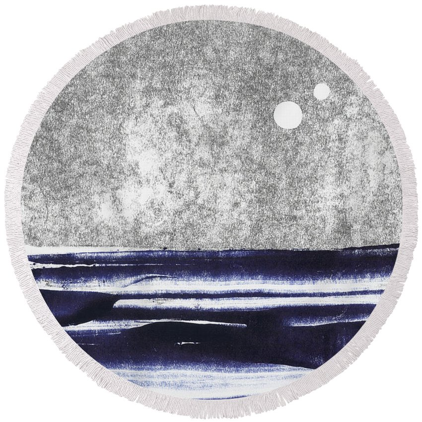 Two Moons Round Beach Towel featuring the painting Two Moons by Militsa Stefanova