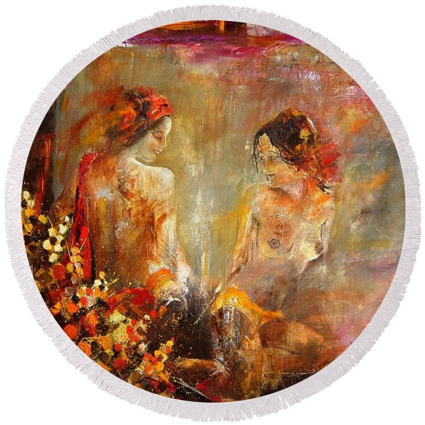 Girl Nude Round Beach Towel featuring the painting Two Nudes by Pol Ledent