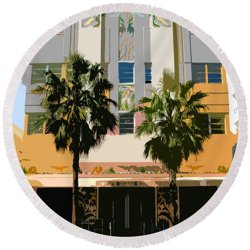 Miami Beach Florida Round Beach Towel featuring the photograph Two Palms Art Deco Building by David Lee Thompson