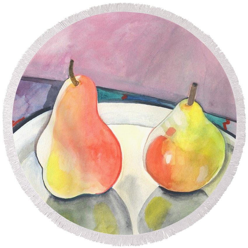 Pear Round Beach Towel featuring the painting Two Pears by Helena Tiainen