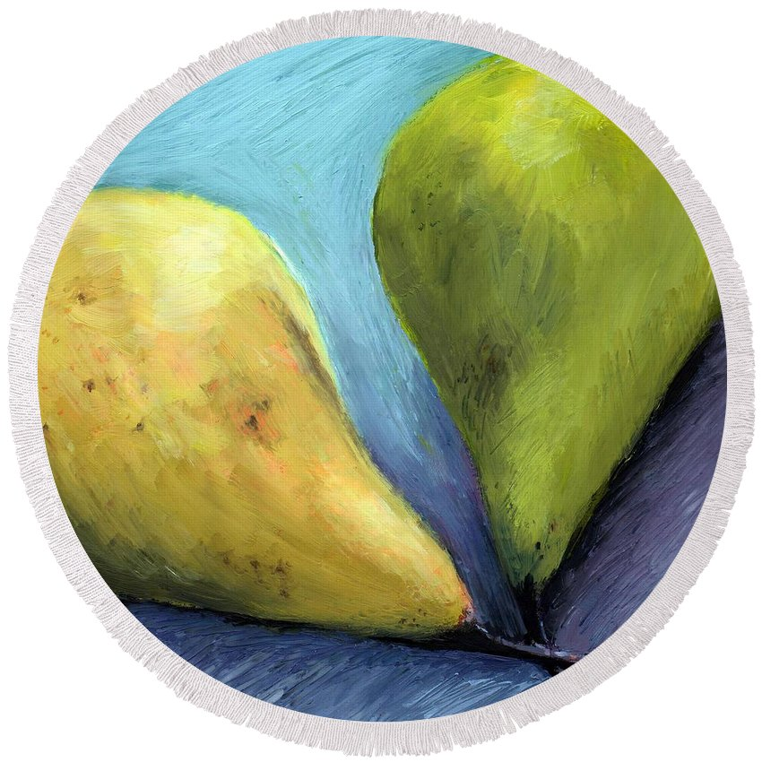 Pear Round Beach Towel featuring the painting Two Pears Still Life by Michelle Calkins