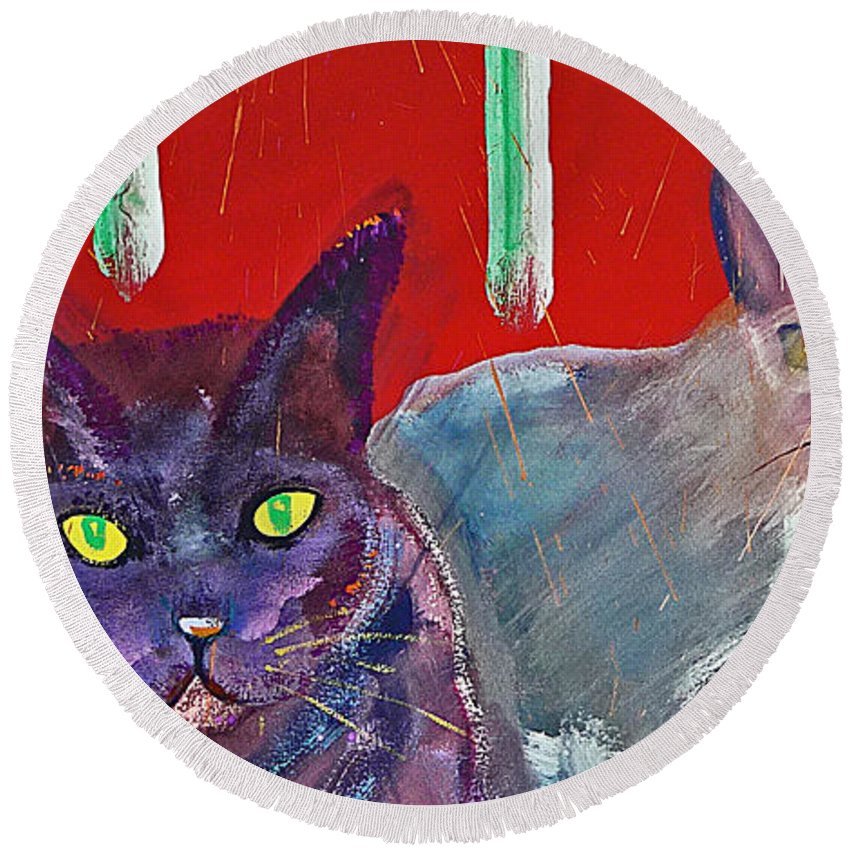 Cat Round Beach Towel featuring the painting Two Posh Cats by Charles Stuart