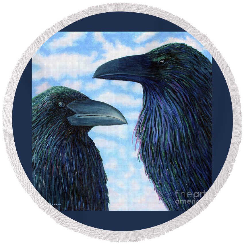 Raven Round Beach Towel featuring the painting Two Ravens by Brian Commerford