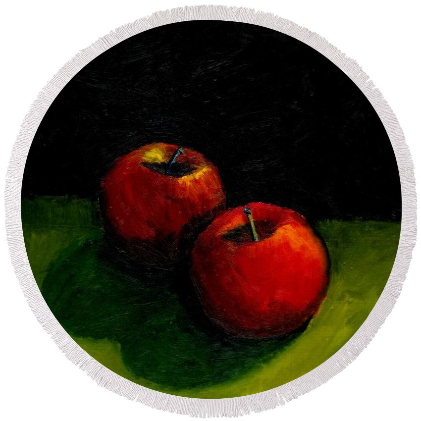 Red Round Beach Towel featuring the painting Two Red Apples Still Life by Michelle Calkins