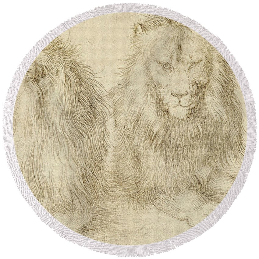 Albrecht Durer Round Beach Towel featuring the drawing Two Seated Lions by Albrecht Durer